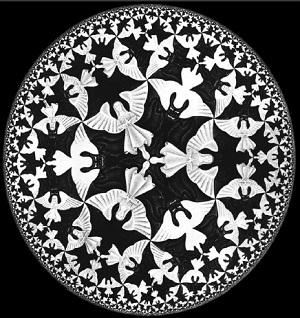 Рис. 1. M. Эшер, «Предел — круг 4 (ад и рай)»