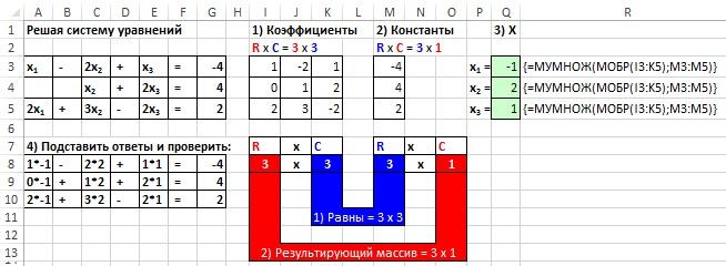 Рис. 18.15. Решение системы уравнений с помощью функций МУМНОЖ и МОБР