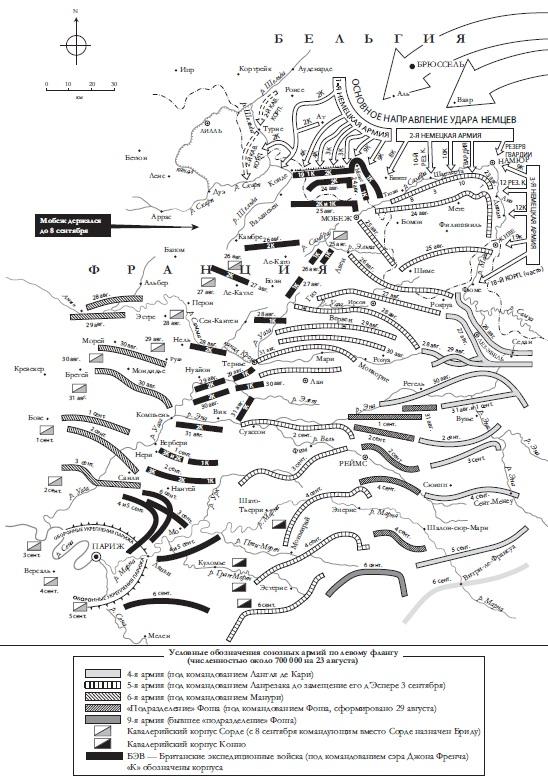 Ris. 4. Otstuplenie soyuznikov 23 avgusta 6 sentyabrya 1914 g.