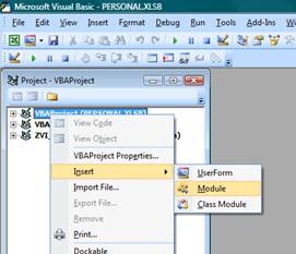 Рис. 10. Вставить модуль для хранения кода VBA