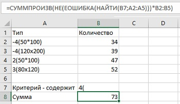Excel Подсчет числа ячеек содержащих символ букву