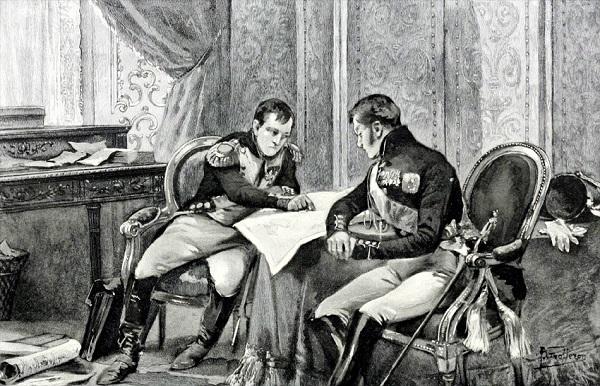Наполеон и Александр I рассматривают карту Европы в Тильзите