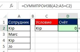 Рис. 10.15. СУММПРОИЗВ интерпретирует нечисловые данные как нули