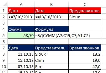 Рис. 10.25. БДСУММ требует, чтобы сравнительный оператор быть помещены в ячейку