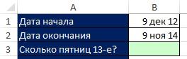 Рис. 10.29. Цель – подсчитать количество «пятниц 13-е», находящееся между двумя датами