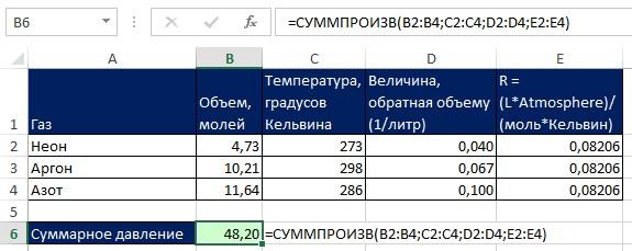 Рис. 10.5. Функция СУММПРОИЗВ может обрабатывать до 255 диапазонов