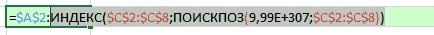 Рис. 13.12. Выделяя полностью функцию ИНДЕКС со всем ее содержимым