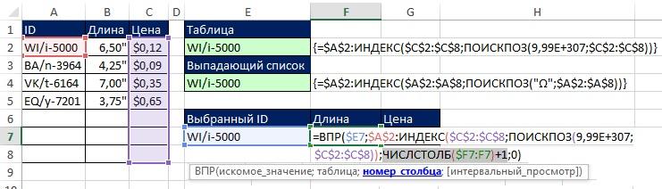 Рис. 13.24. Аргумент таблица функции ВПР содержит формулу динамического диапазона