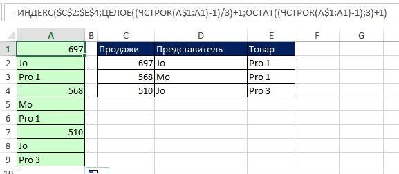 Рис. 8.19. Функция ИНДЕКС