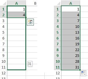 Рис. 8.8. Цель – создать ряд с интервалом в три единицы