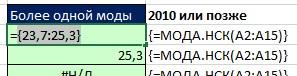 Рис. 9.16. Функция МОДА.НСК возвращает вертикальный массив чисел