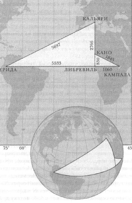 Рис. 7. Треугольники на карте и на глобусе