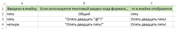 Рис. 7. Особенности использования текстового раздела формата