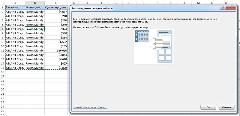 Рис. 4. Excel не может рекомендовать создание сводной таблицы на основе исходных данных