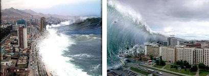 Рис. 6.5. Пример волны цунами, возникающей в Тихом океане за счет извержения подводных вулканов