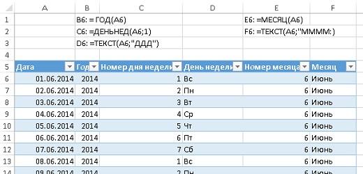 Рис. 36. Исходные данные для создания календарной таблицы в Excel