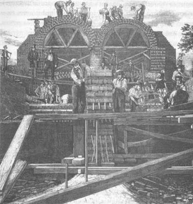 Рис. 6. Строительство канализационного тоннеля возле Олд-Форда, Боу, восточная часть Лондона