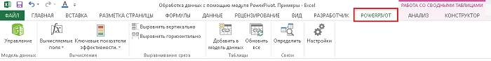 Рис. 8. Вкладка PowerPivot