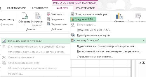 Рис. 29. После включения анализа «что, если» можно изменять данные в сводной таблице