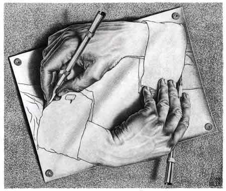 Рис. 3. Эшер. Рисующие руки