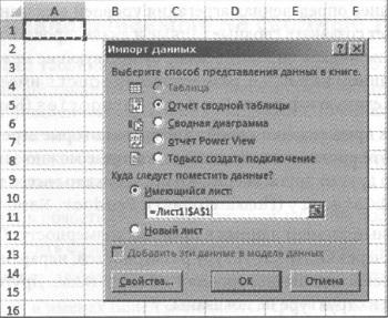 Рис. 5. Завершив настройку подключения, можете приниматься за создание сводной таблицы