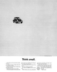 Рис. 1. Реклама «Жука» комапнии Volkswagen Помни о малом