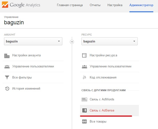 Рис. 6.4. Интегрирование AdSense с Google Analytics