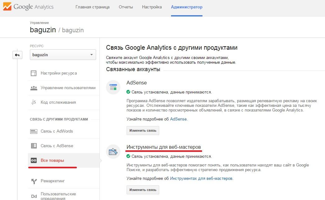 Рис. 6.6. Интеграция с Webmaster Tools из интерфейса Google Analytics