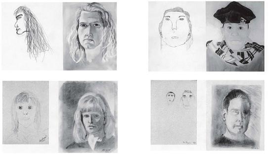 Рис. 1. Автопортреты участников тренинга по рисованию, слева в самом начале, справа – 5 дней спустя