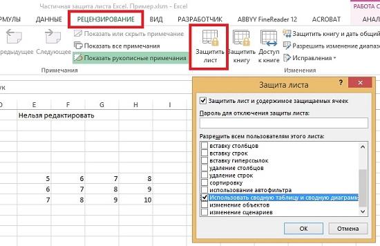 Рис. 1. Окно настройки параметров защиты листа