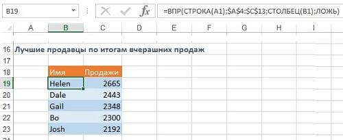 Рис. 4.10 Формула ВПР фактически сортирует данные из исходной таблицы