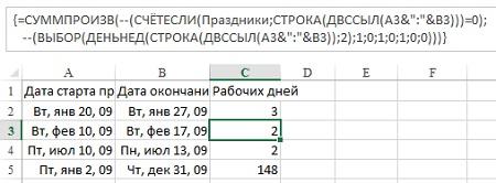 Рис. 11. Функция ВЫБОР для произвольного числа рабочих дней