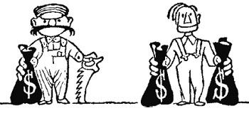Рис. 7. Честная пиктограмма, мешки одинаковые, но для США их в два раза больше
