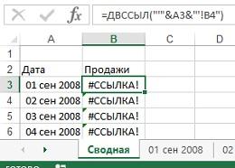 Рис. 1. ДВССЫЛ не может напрямую использовать ссылки на листы, в имени которых содержится дата