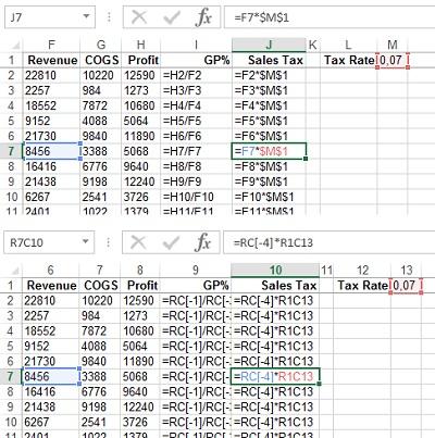 Рис. 3. Абсолютные ссылки в стиле А1 (верхний рисунок) и R1C1 (нижний рисунок)