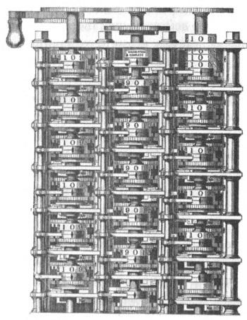 Рис. 3. Деревянная модель (1853) небольшой части разностной машины