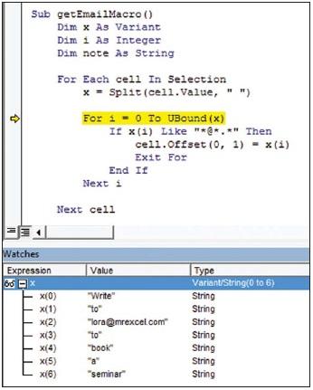 Рис. 1. Функция Split возвращает массив, где каждое слово будет элементом массива