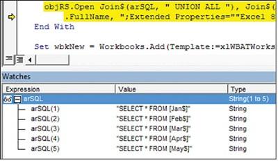 Рис. 2. Вы строите несколько SQL-запросы, чтобы захватить все данные с каждого из 5 листов