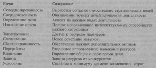 Рис. 5. Аспекты ресурсных рычагов