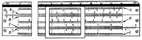 Рис. 9. Шкала логарифмической линейки конца XX века