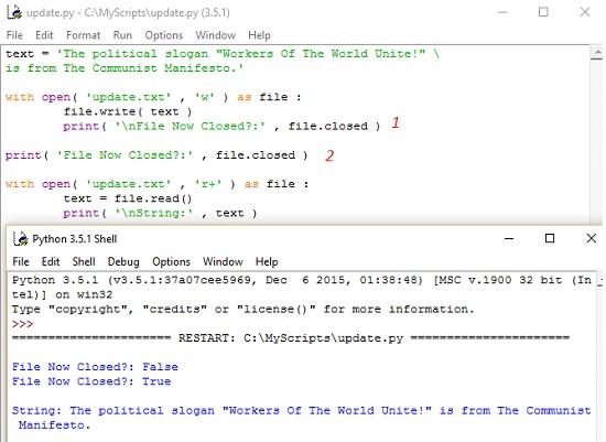 Рис. 14. Метод with при работе с файлом