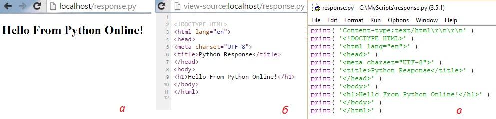 Рис. 17. Интерпретация файла-скрипта Python в браузере