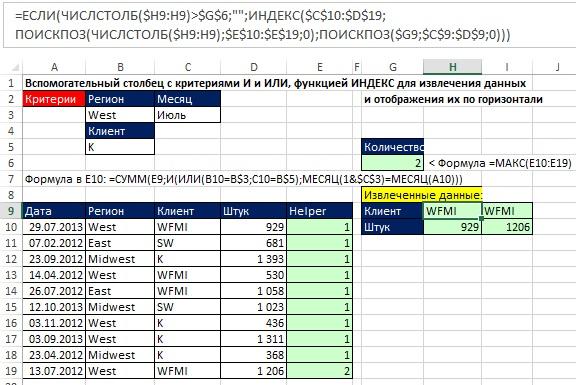 Рис. 15.22. Данные извлекаются из вертикальной таблицы и отображается горизонтально