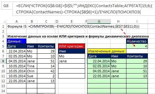 Рис. 15.57. Извлечение данных использует имена двух динамически определенных диапазонов