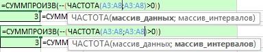 Рис. 17.2. Одинаковые диапазоны аргументов массив_данных и массив_интервалов