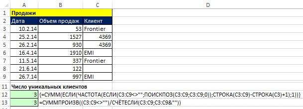 Рис. 17.8. Формулы подсчета уникальных элементов при наличии пустых ячеек в диапазоне