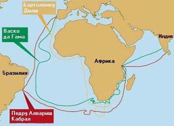 Рис. 3. Открытие восточного пути в Индию португальскими мореплавателями