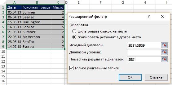 Рис. 19.1. Извлечение уникальных записей с помощью опции Расширенный фильтр
