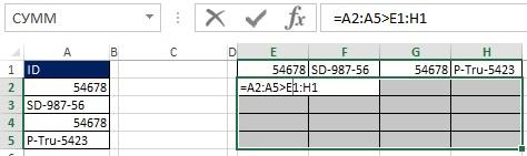 Рис. 19.31. В диапазоне Е2_Н5 введите формулу массива =А2_А5_Е1_Н1