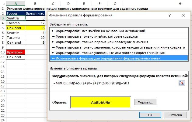 Рис. 20.1. Формула массива в диалоговом окне Изменение правила форматирования